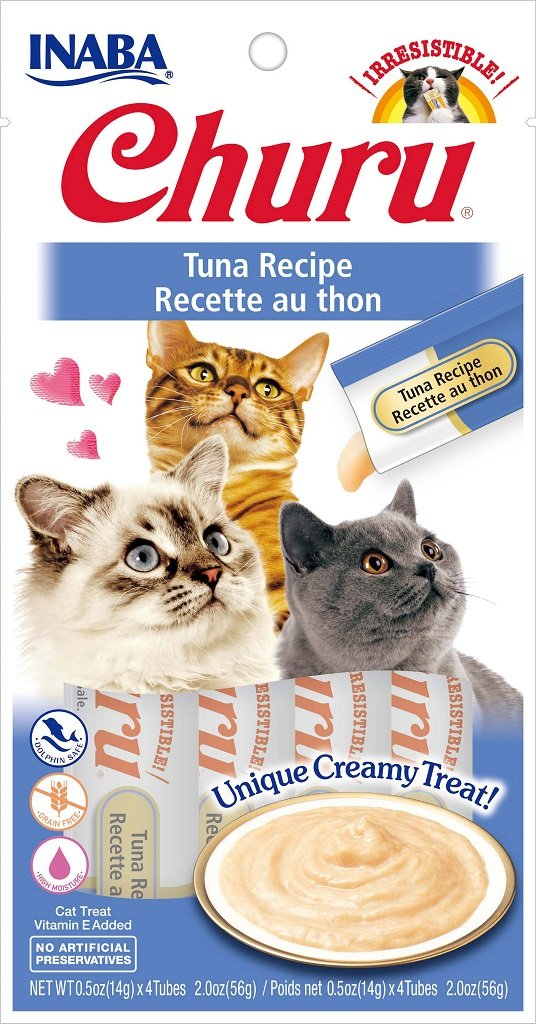 INABA Churu Tuna Recipe Puree Cat Treat - 2.0 oz | (4) 0.5% Tubes
