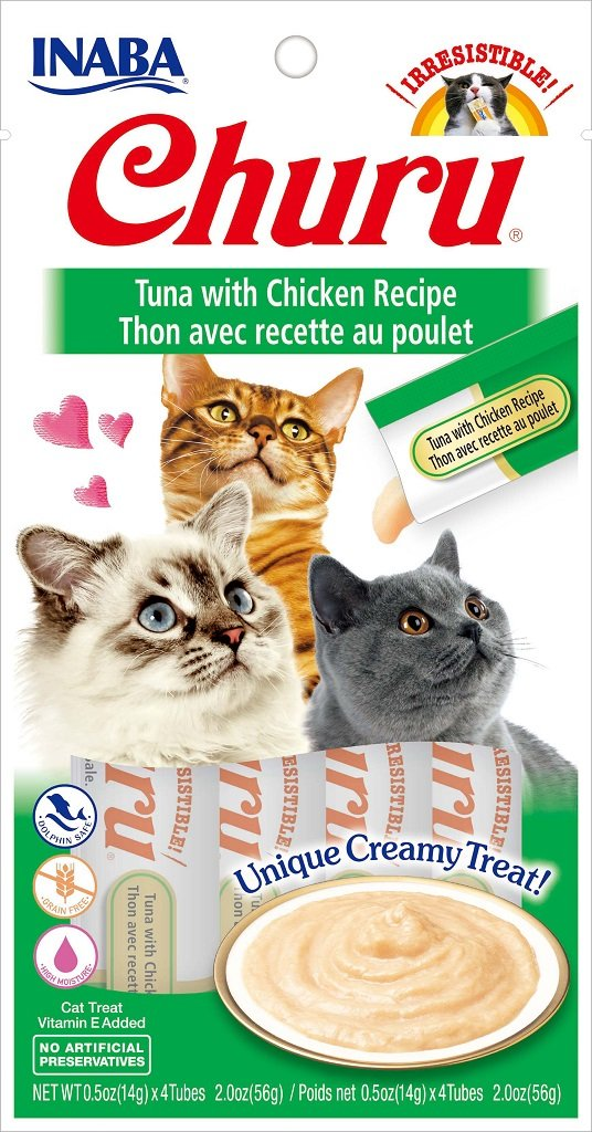 INABA Churu Tuna with Chicken Recipe Puree Cat Treat - 2.0 oz | (4) 0.5% Tubes