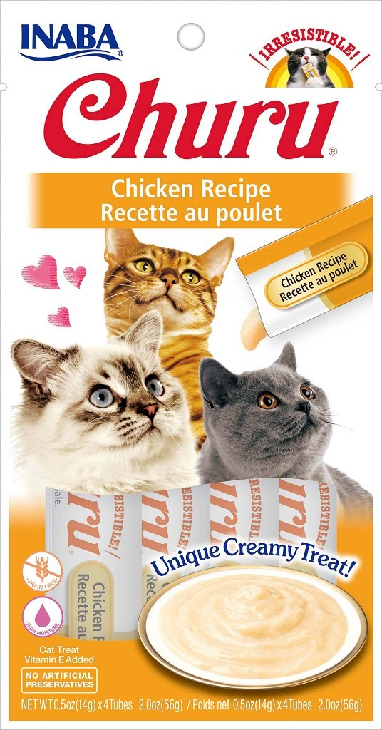 INABA Churu Chicken Recipe Puree Cat Treat - 2.0 oz | (4) 0.5% Tubes