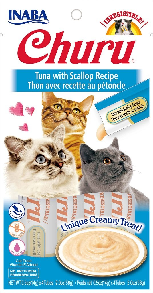 INABA Churu Tuna with Scallop Recipe Puree Cat Treat - 2.0 oz | (4) 0.5% Tubes