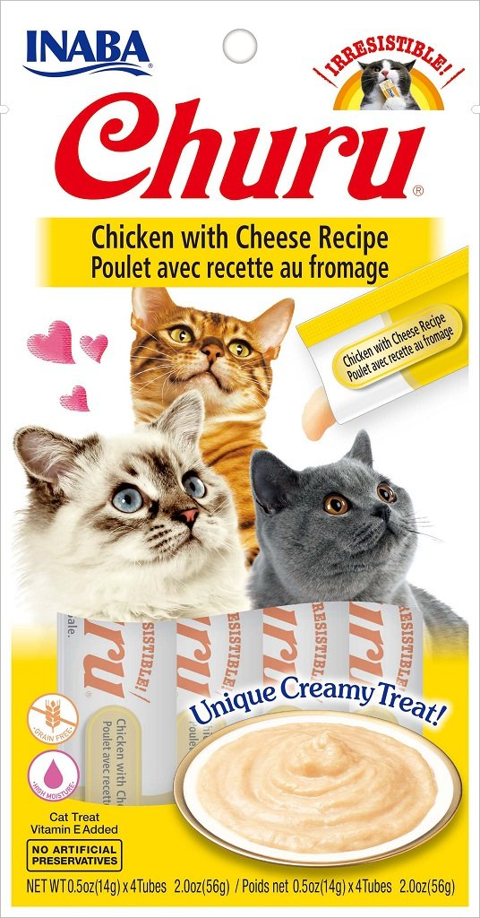 INABA Churu Chicken with Cheese Recipe Puree Cat Treat - 2.0 oz | (4) 0.5% Tubes