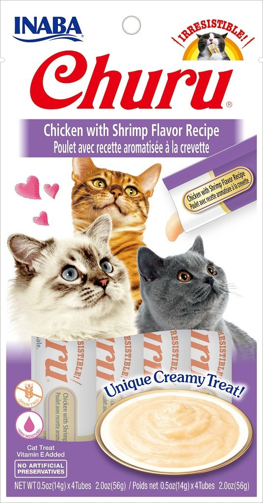 INABA Churu Chicken with Shrimp Recipe Puree Cat Treat - 2.0 oz | (4) 0.5% Tubes