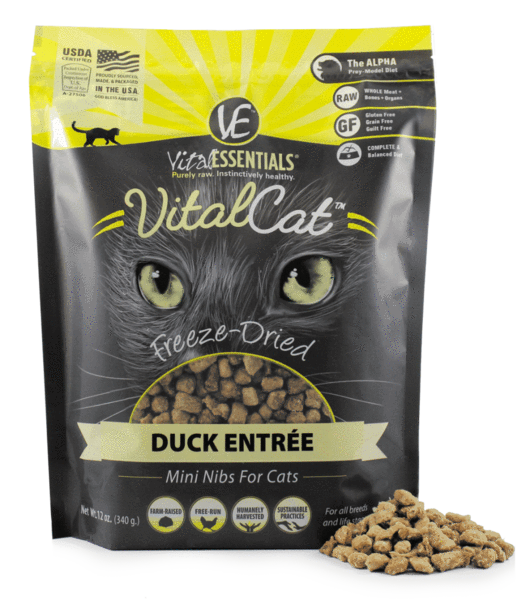 Vital Esstentials Vital Cat Freeze Dried Raw Duck Entree Mini Nibs for Cats - 12 oz.