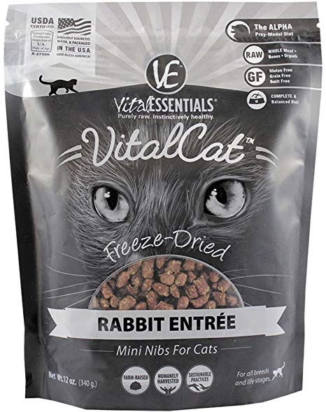 Vital Esstentials Vital Cat Freeze Dried Raw Rabbit Entree Mini Nibs for Cats - 12 oz.