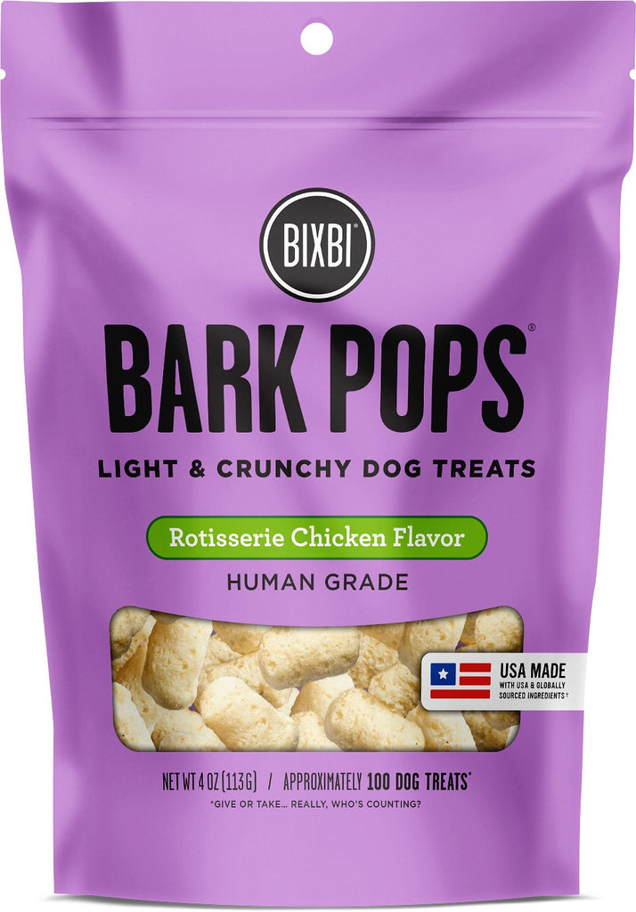 BIXBI Bark Pops Human Grade Rotisserie Chicken Flavor Light & Crunchy Dog Treats - 4 oz