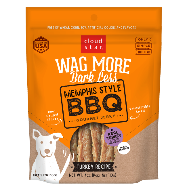 Cloud Star Wag More Bark Less Memphis Style BBQ Gourmet Turkey Jerky Dog Treats - 10 oz