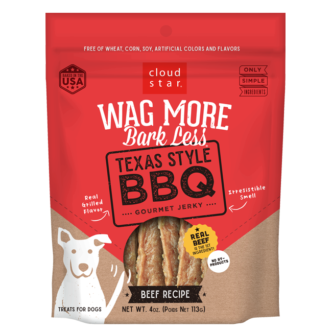 Cloud Star Wag More Bark Less Texas Style BBQ Gourmet Beef Jerky Dog Treats - 10 oz