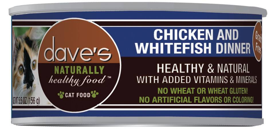 Dave's Naturally Healthy Grain Free Chicken & Whitefish Dinner Cat Food - 5.5 oz.
