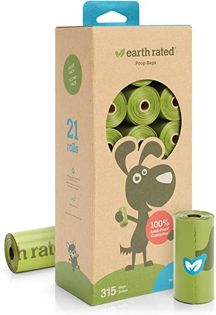 Earth Rated Poop Bag Unscented Dispenser Refill (21 Rolls - 315 Bags)