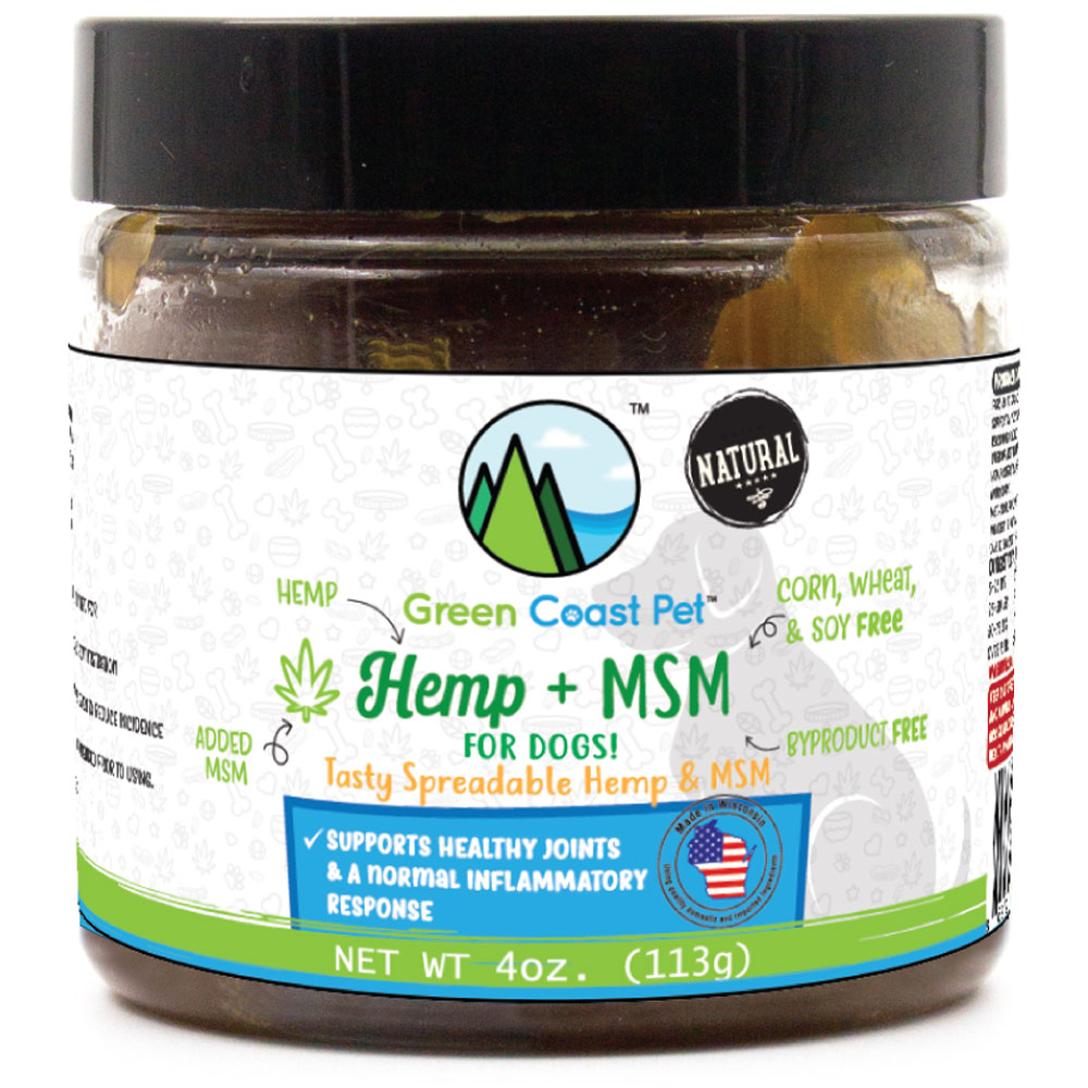 Green Coast Pet Hemp+MSM Peanut Butter Flavor Joint Supplement for dogs - 4 oz.