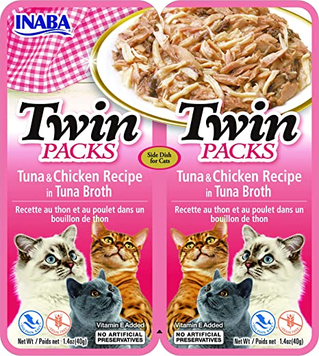 INABA Twin Packs - Tuna & Chicken Recipe in Tuna Broth for Cats