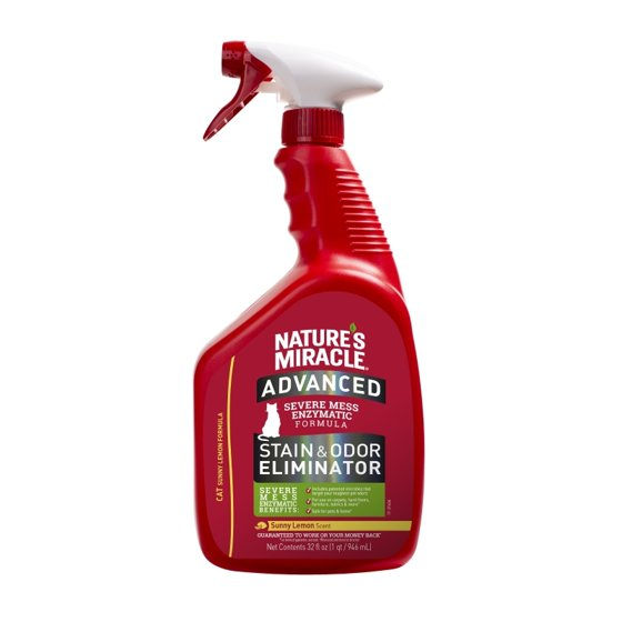 Nature's Miracle Advanced Stain and Odor Eliminator for Cats - Sunny Lemon Scent - 32 fl oz Trigger Sprayer