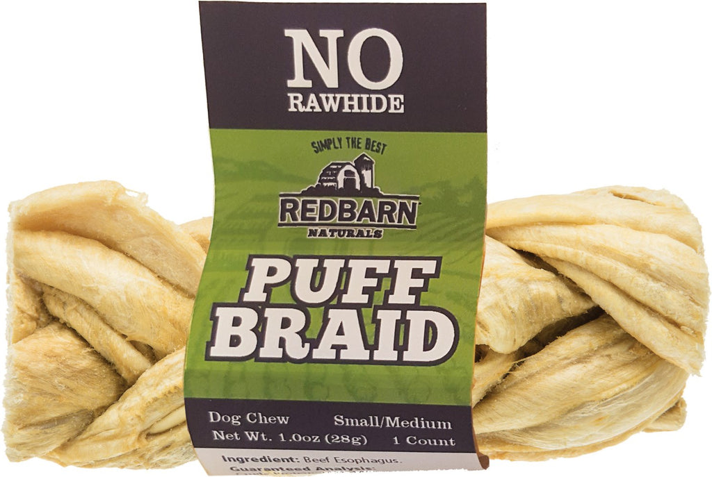 RedBarn Naturals Puff Braid Esophagus Stick Dog Chew Treat - 9""