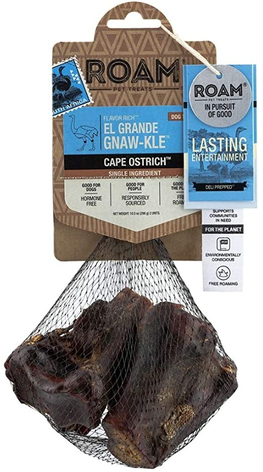 ROAM El Grande Gnaw-Kle Cape Ostrich Bone Large Dog Chew Treat - 2 pcs.