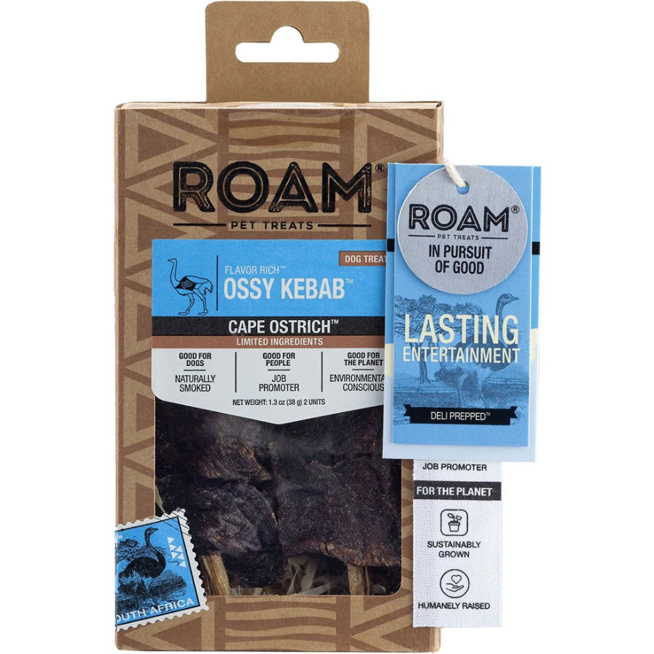 ROAM Ossy Kebab Cape Ostrich Dog Treat - 2 pcs