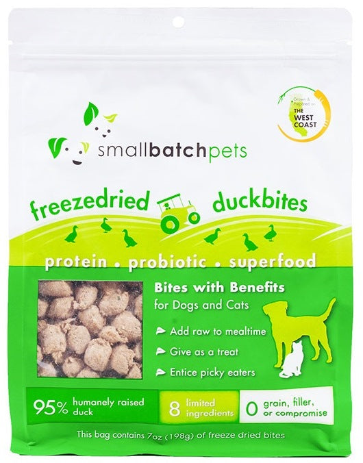 SmallBatch Freeze Dried Duck Bites Treats for Dogs and Cats - 7 oz