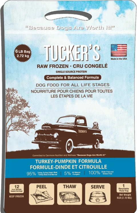 Tucker's Frozen Raw Turkey Pumpkin Complete and Balanced Dog Food