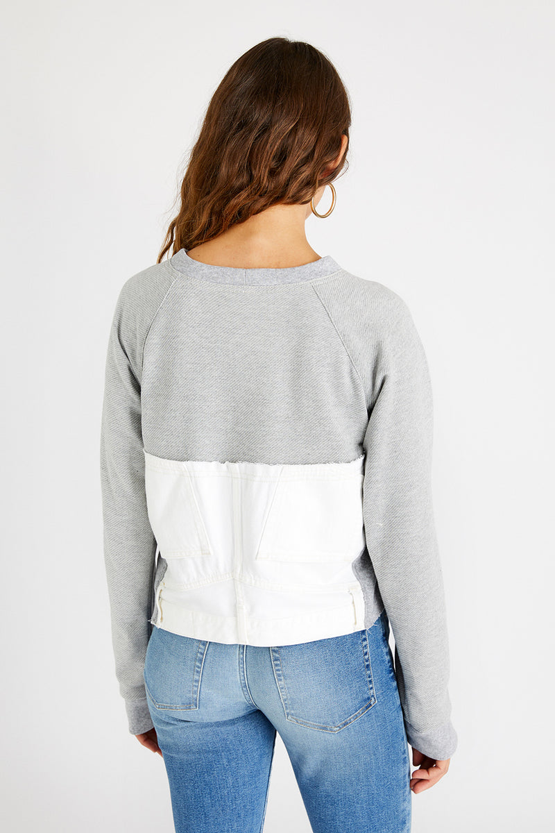 Upcycled Block Sweatshirt - Vintage White