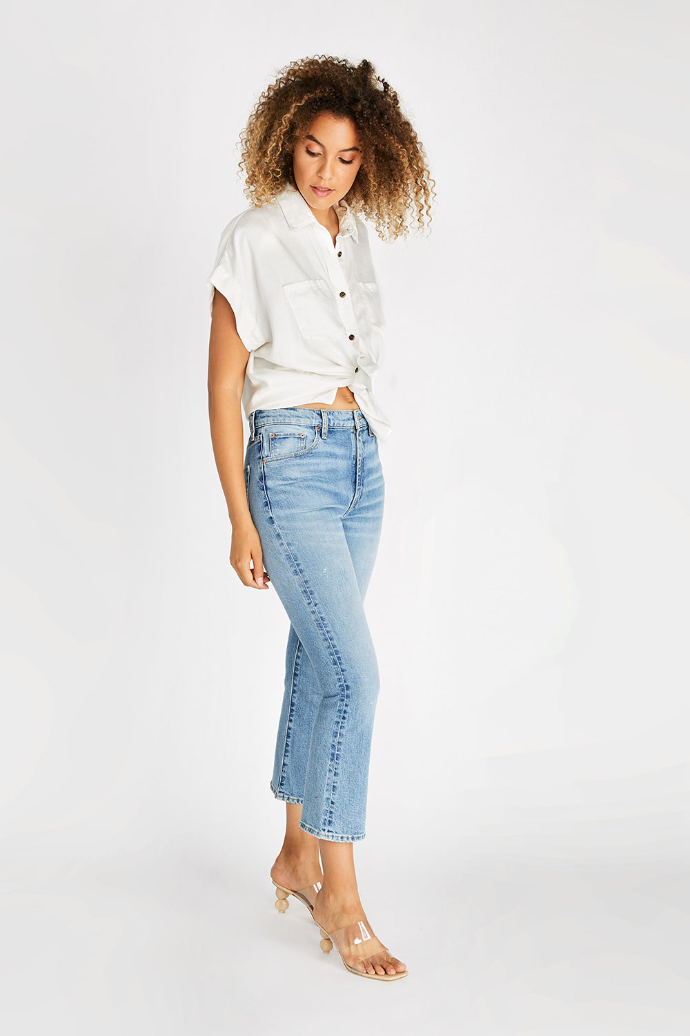 Brigitte Mid Rise Crop - Vintage Light
