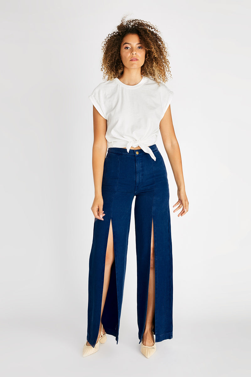 Devon High Rise Split Leg Pant - Navy