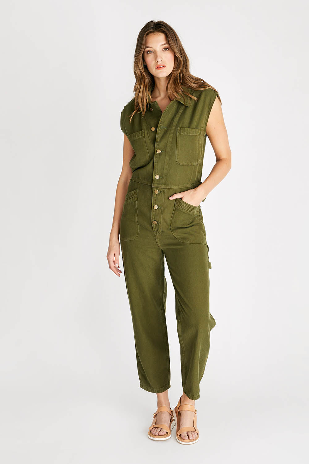 Heidi Sleeveless Coverall - Forest Night