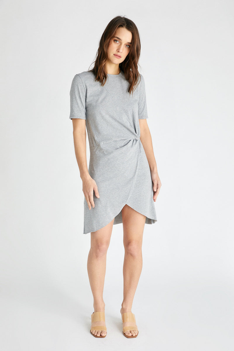 Veronica Twist Tee Dress - Heather Grey