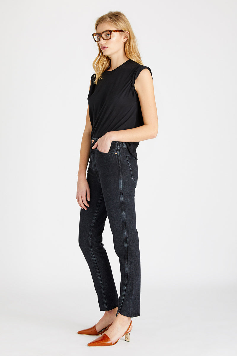 Finn High Rise Twist Seam Straight - Obsidian