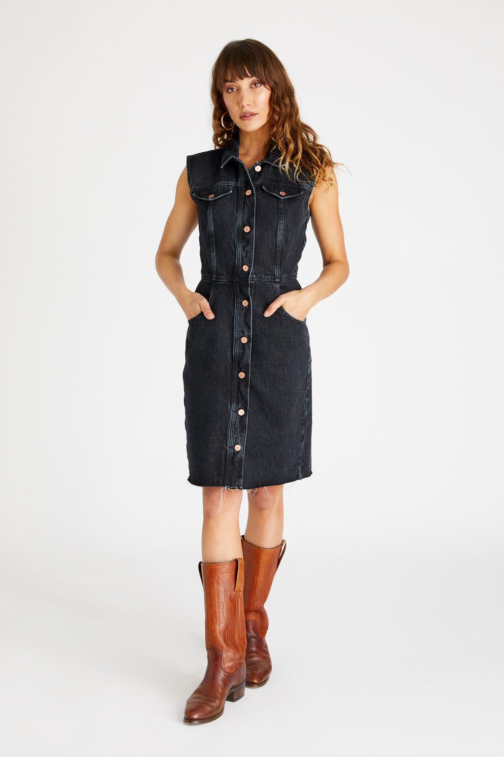 Jori Sleeveless Denim Dress - Obsidian