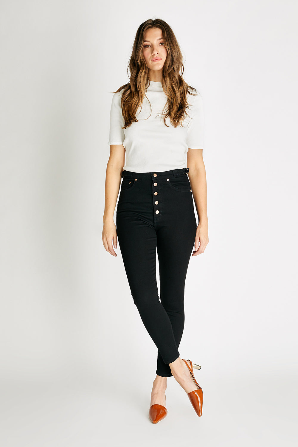 Cindy High Rise Button Fly Skinny - Black