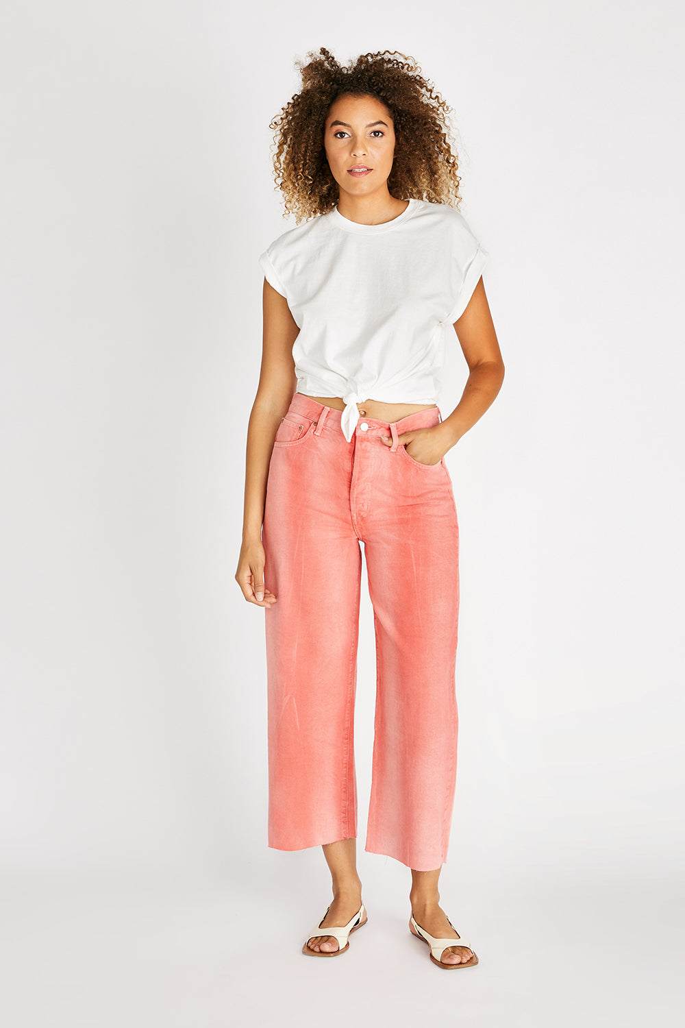 Devon High Rise Wide Leg Crop - Waterline Fire Coral