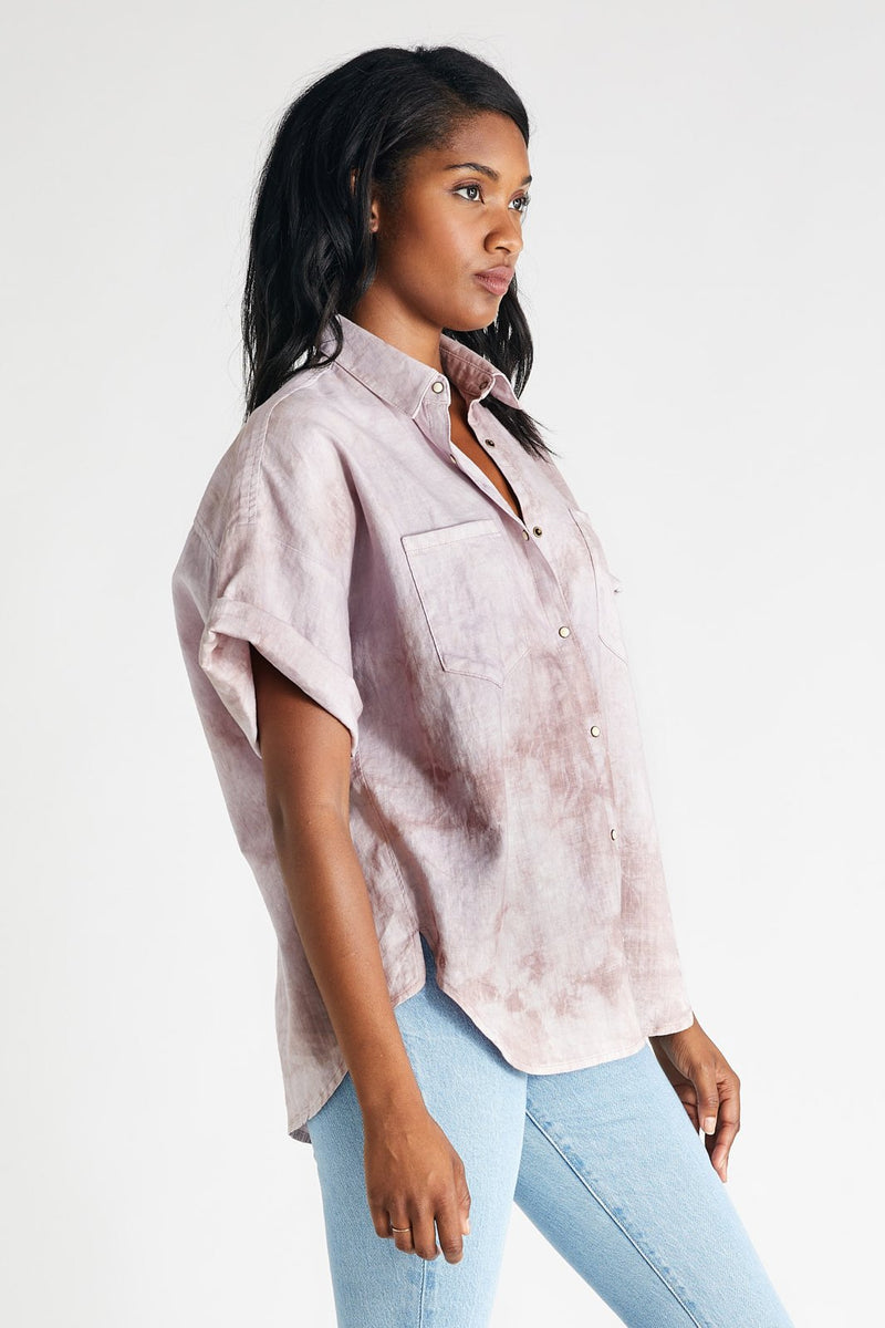 Ash Linen Shirt - Bougainvillea Watercolor