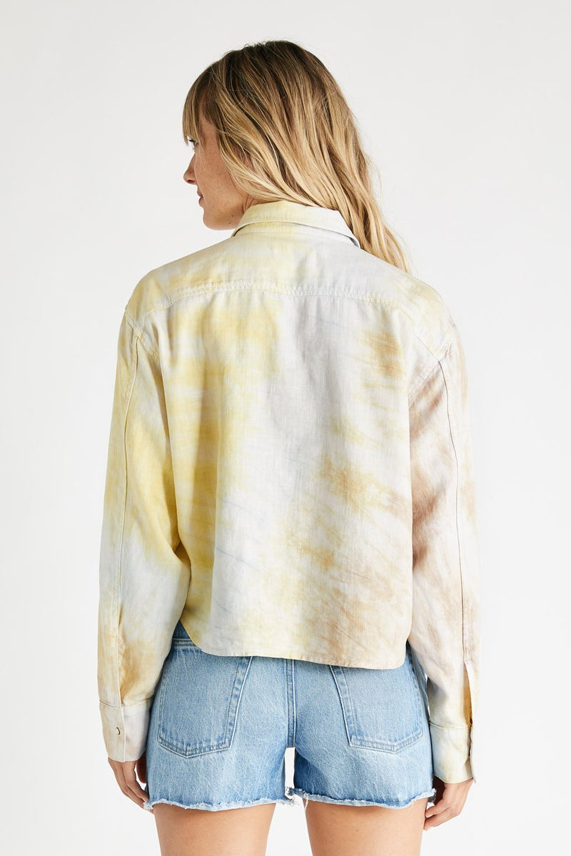 Diana Linen Long Sleeve Shirt - Botanical Tie Dye