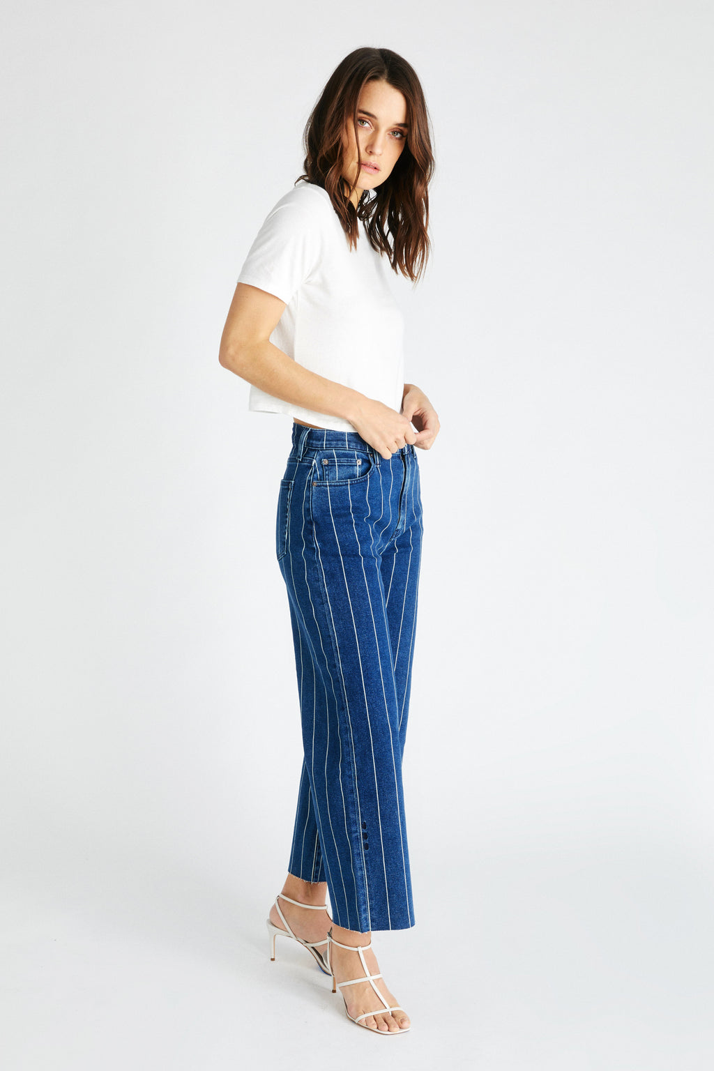 Devon Crop - Wide Indigo Stripe