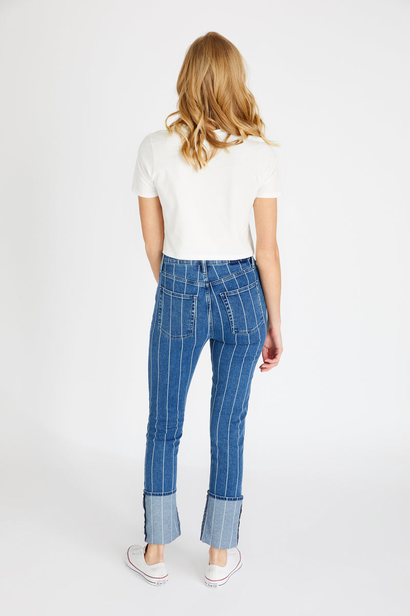 Finn Straight - Wide Indigo Stripe