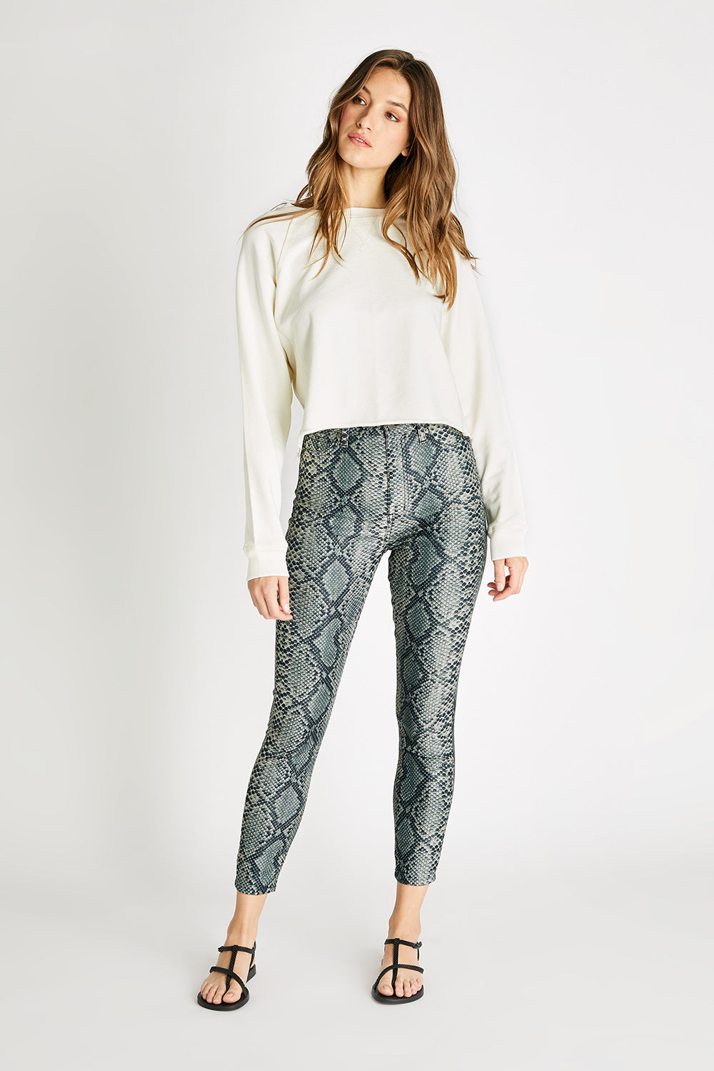 Cindy High Rise Skinny Legging - Olive Snake