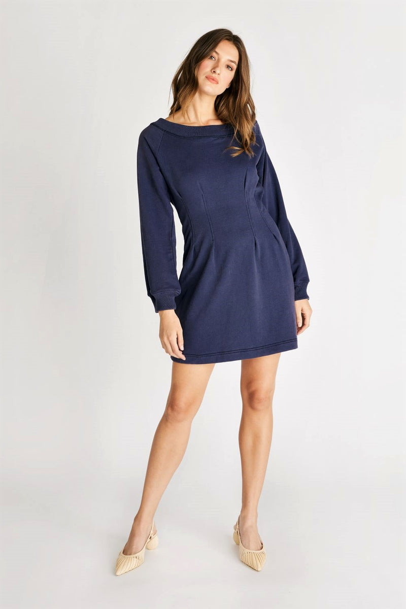 Jaida Darted Knit Dress - Navy