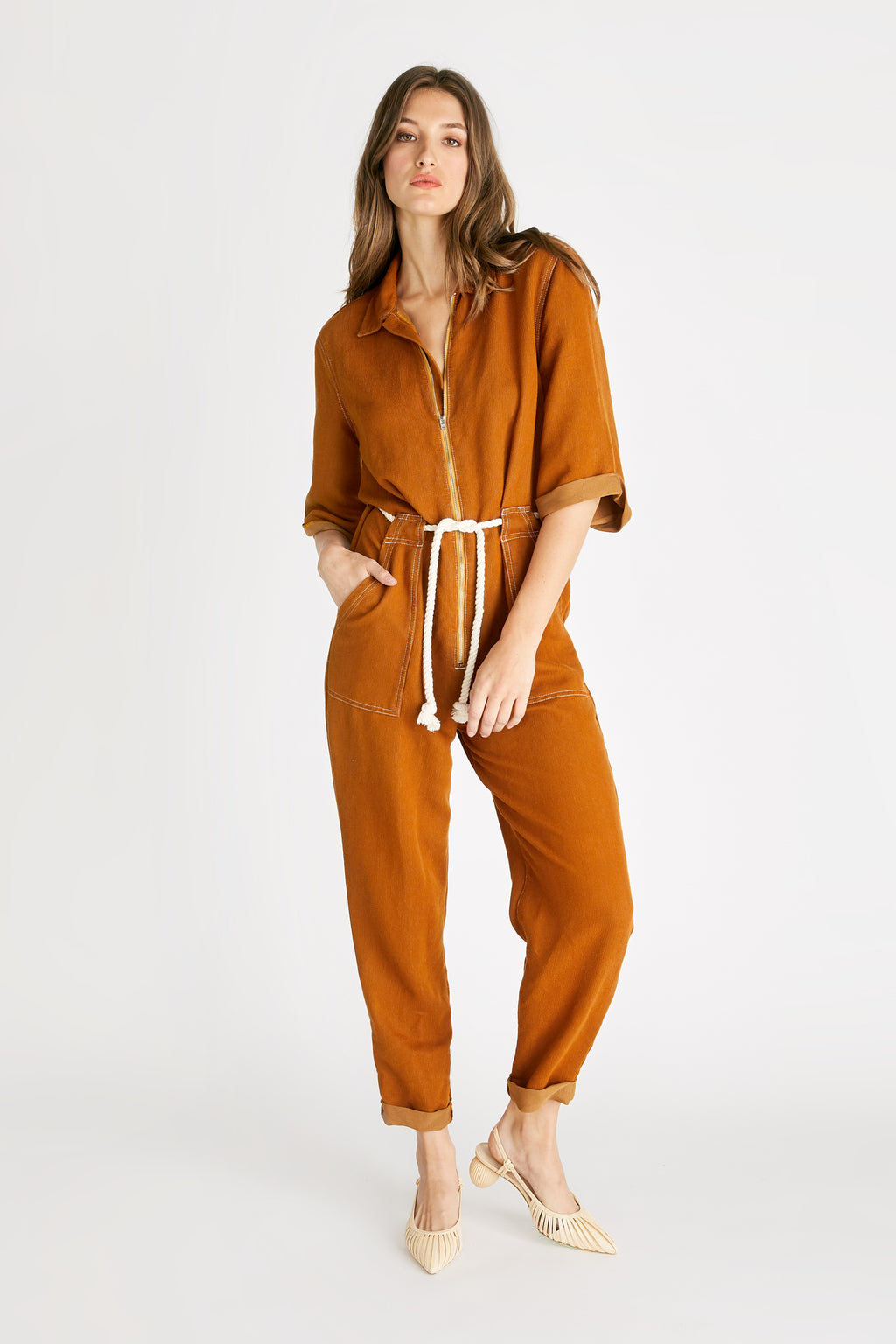 Amelia Flight Suit - Burnt Turmeric
