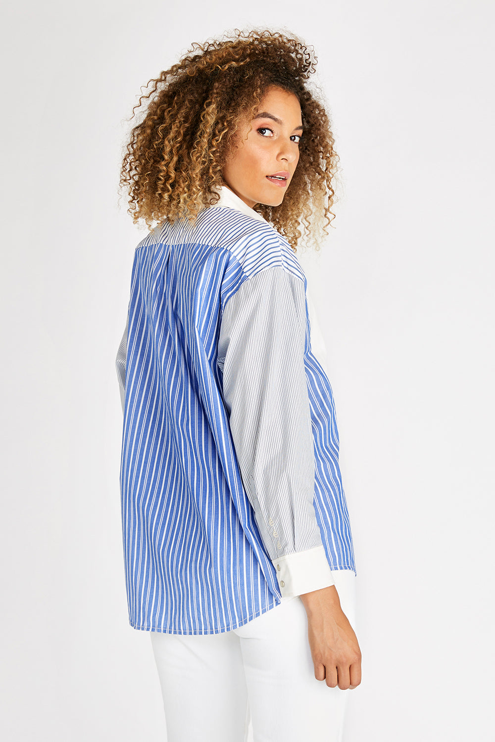 Joni Upcycled Button Down Shirt - Avalon