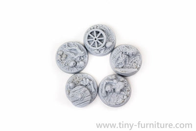 Tiny-Furniture #TF229-9 - Bases 25mm - Old Battle - UNPAINTED