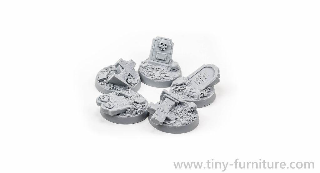 Tiny-Furniture #TF229-1 - Bases 25mm - Village Cemetery - UNPAINTED