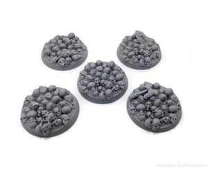 Tiny-Furniture #TF229-6 - Bases 30mm - Skulls - UNPAINTED