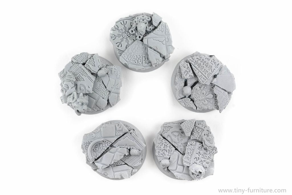 Tiny-Furniture #TF229-3 - Bases 30mm - Temple of Death - UNPAINTED