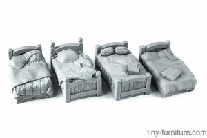 Tiny-Furniture #108 - Beds x4. - UNPAINTED