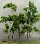 "JTT Scenery Products 95618 - O Scale - Woods Edge Trees Green 4"" - 5.5"" 5/pk"