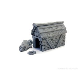 Tiny-Furniture #146-1 - Kennel with a Dog - UNPAINTED