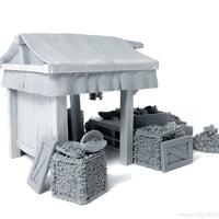 Tiny-Furniture #136-1 - Vegetable Market Stall with Food - UNPAINTED