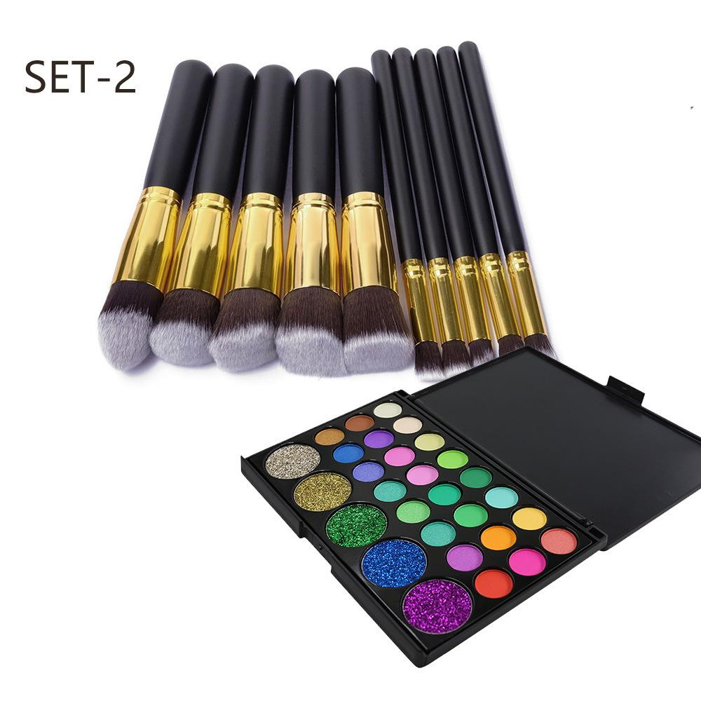 29 Color Shimmer Diamond Eyeshadow /10 PCS Makeup Brushes Eye Shadow Fonsany SET-2