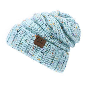 A Handmade Soft Knit Beanie myurbanluxe Confetti Light Blue