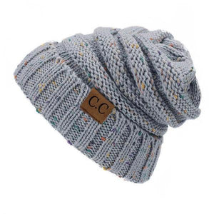 A Handmade Soft Knit Beanie myurbanluxe Confetti Light Grey