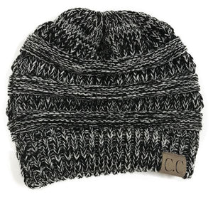 A Handmade Soft Knit Beanie myurbanluxe Solid Black White